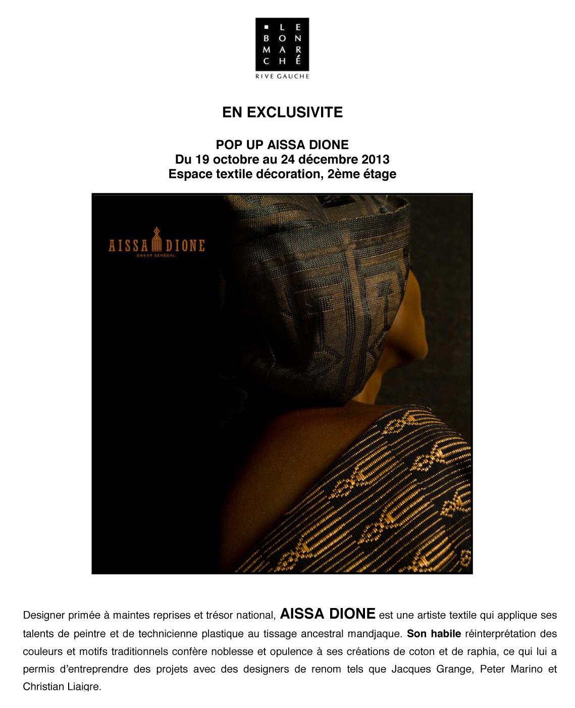 Aissa Dione au Bon Marche